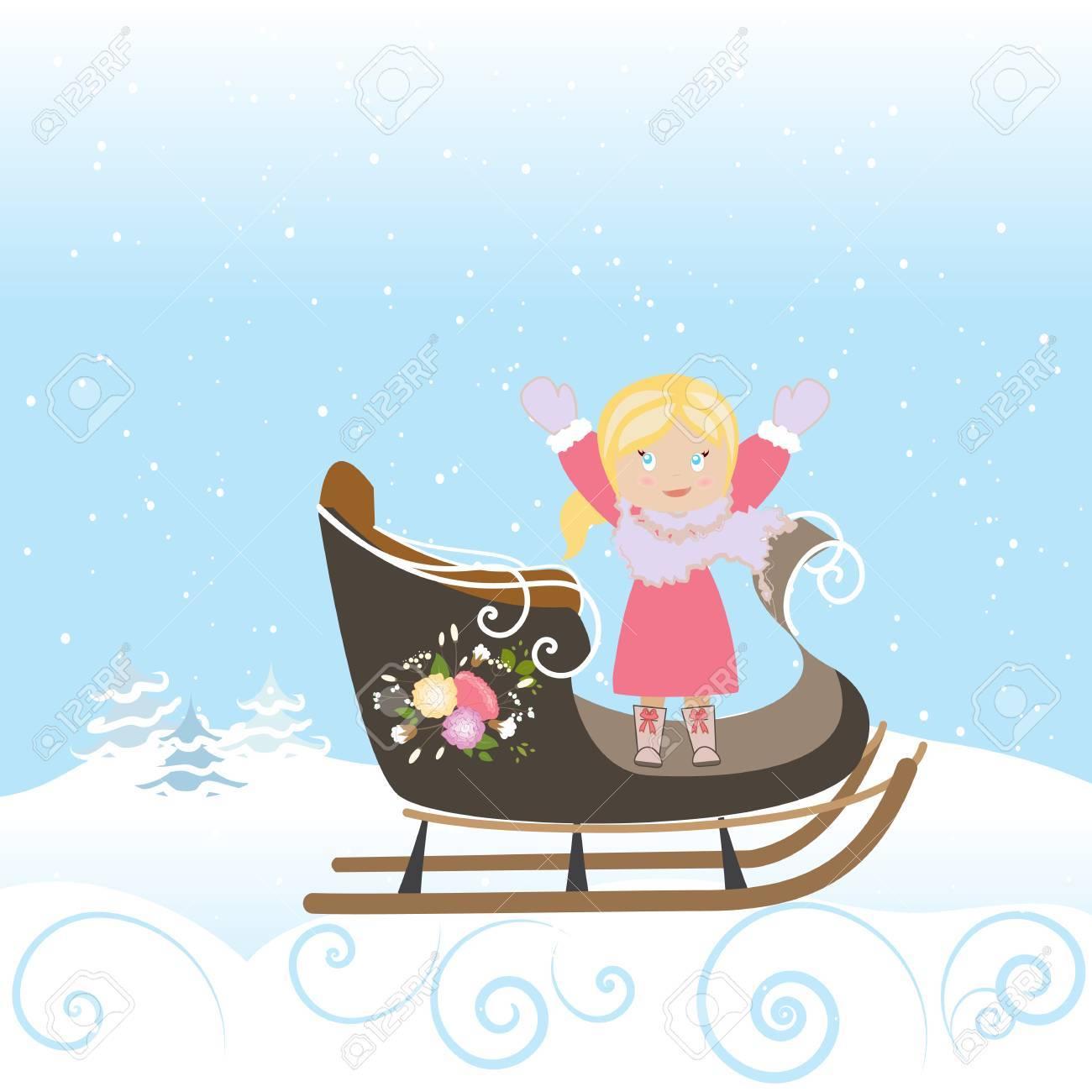 Schlitten-Mädchen-Kind-Lächeln Weihnachten Lizenzfrei Nutzbare ...