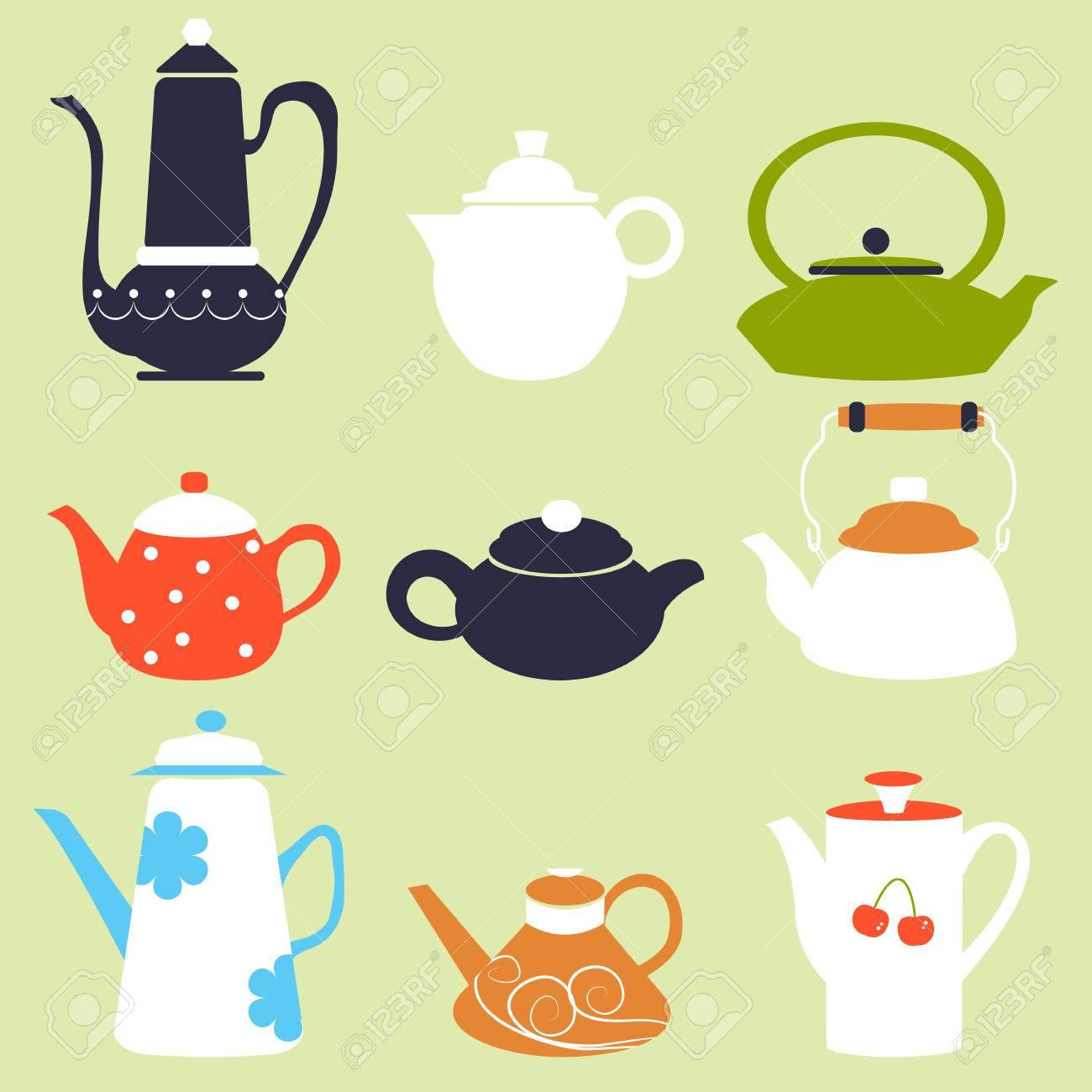 Tea Coffee Season Autumn Winter Kettle Breakfast Teapot Vector ...