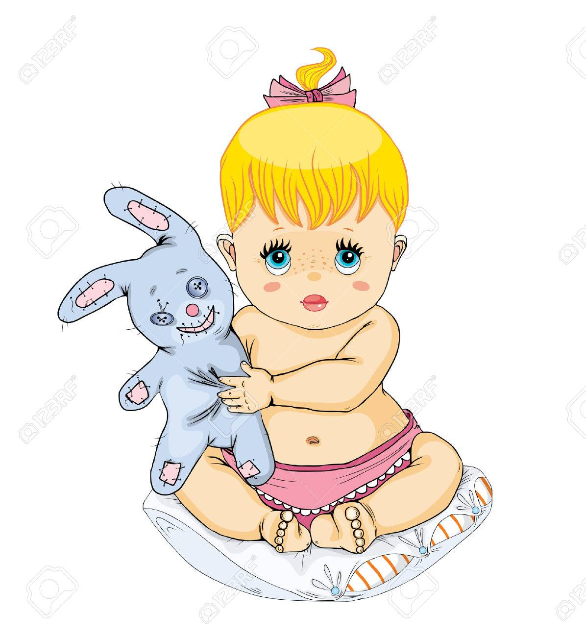 The little girl holds a toy. Stock Vector - 4381489