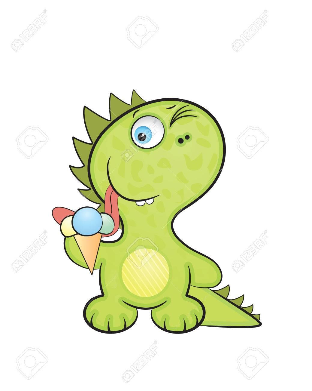 Cute cartoon style, the baby a dragon tries ice-cream. - 4614610