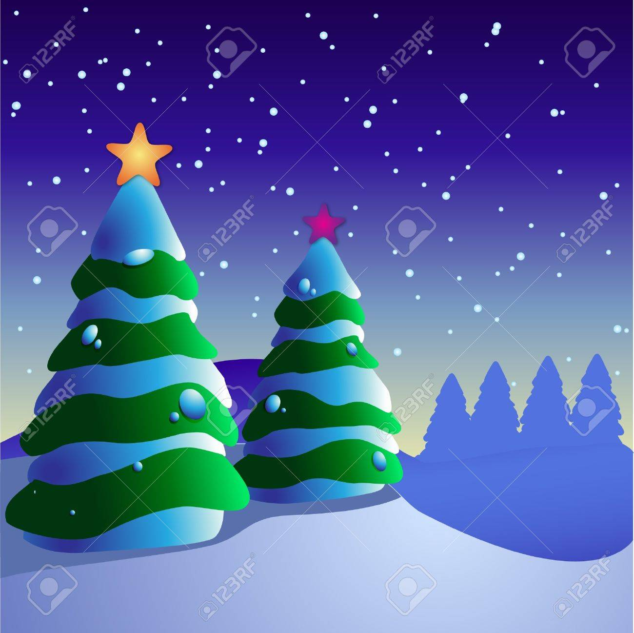 illustration of winter field with two pine trees decorated with Christmas decorations Stock Illustration - 4065565