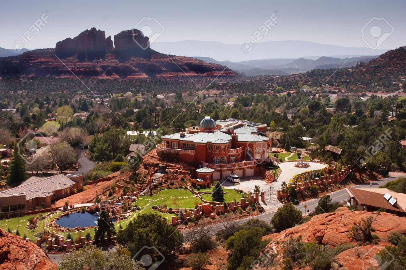 large mansion in the city of sedona arizona stock photo picture