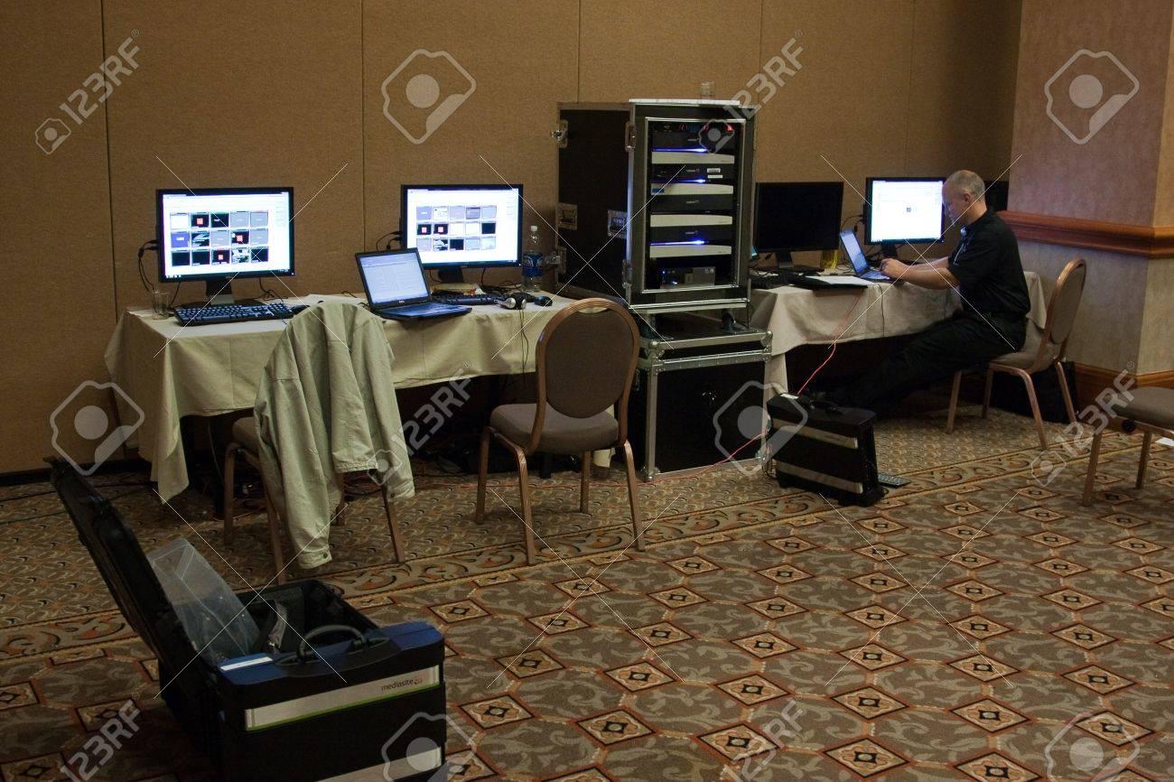 LAS VEGAS - DEC 2:   AutoDesk University 2009 Proceedings Recording Room  December 2, 2009 at the Mandalay Bay Hotel and Casino Las Vegas, Nevada. Stock Photo - 7405359