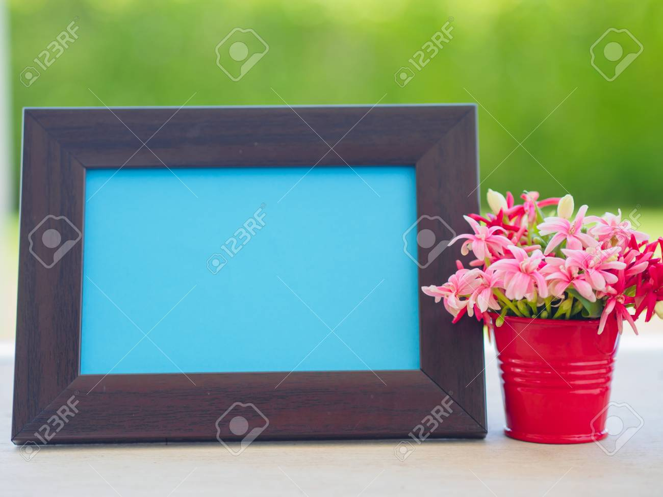 Poster Mock Up Template With Flower Bouquet, Marshmallow In The ...