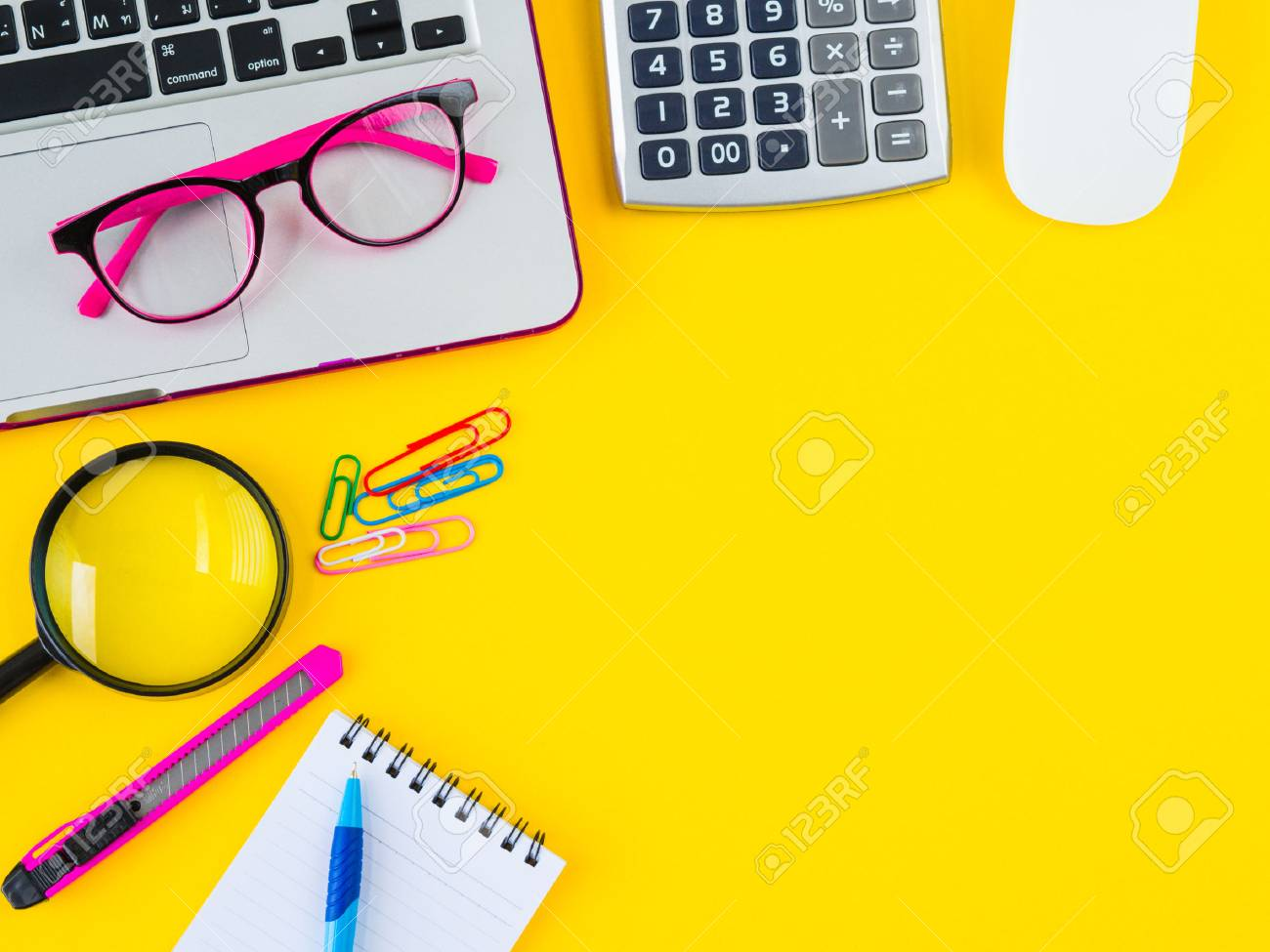 Flat lay top view office table stock photo (edit now) 663899290.