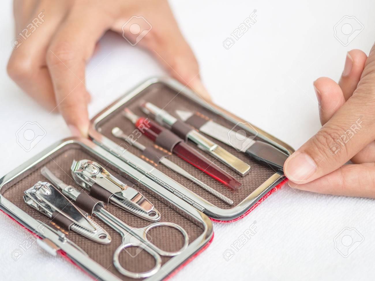 Closeup Woman Hand Holding Traveler\'s Nail Care Kit Of Necessary ...