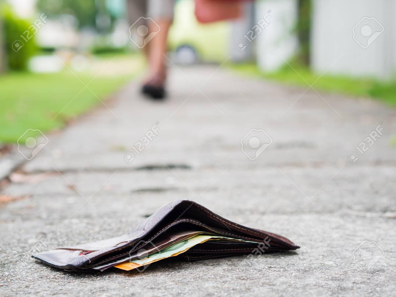Money On Wallet With Lost Drop Money Leather Sidewalk