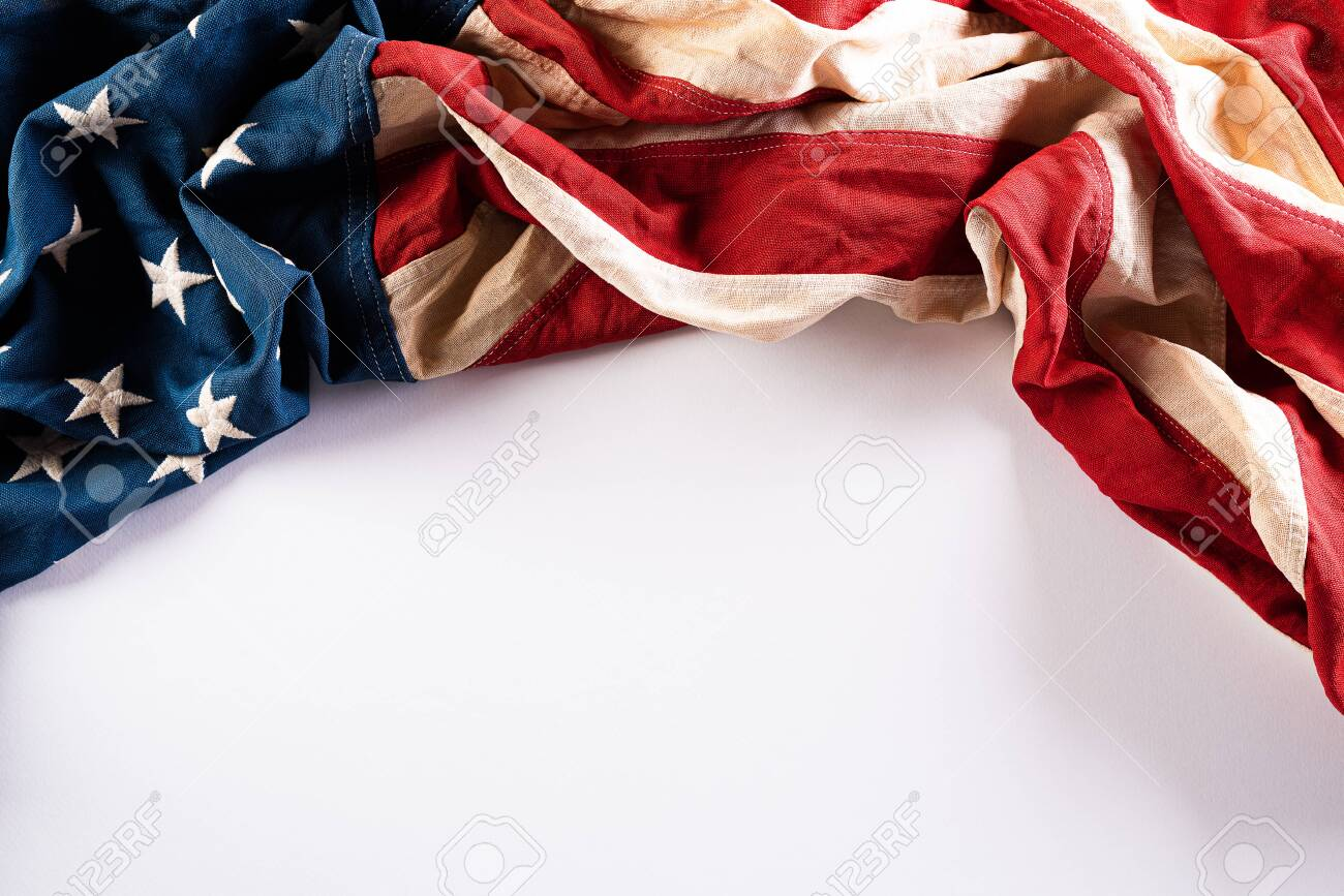 Happy Memorial Day. American flags with the text REMEMBER & HONOR against a white background. - 147213464