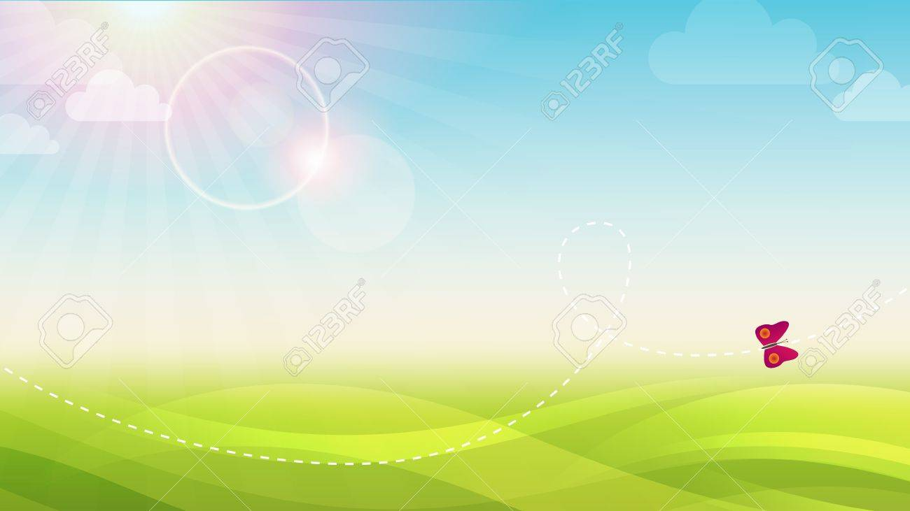 Spring Green Vector Abstract Background Width Butterfly Stock