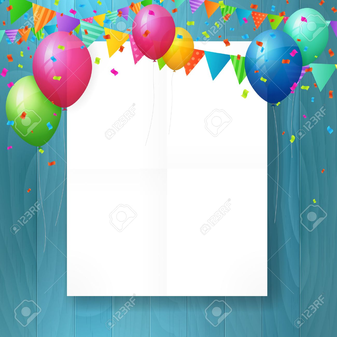 Empty happy birthday greeting card with balloons and flags on empty happy birthday greeting card with balloons and flags on wood background stock vector m4hsunfo