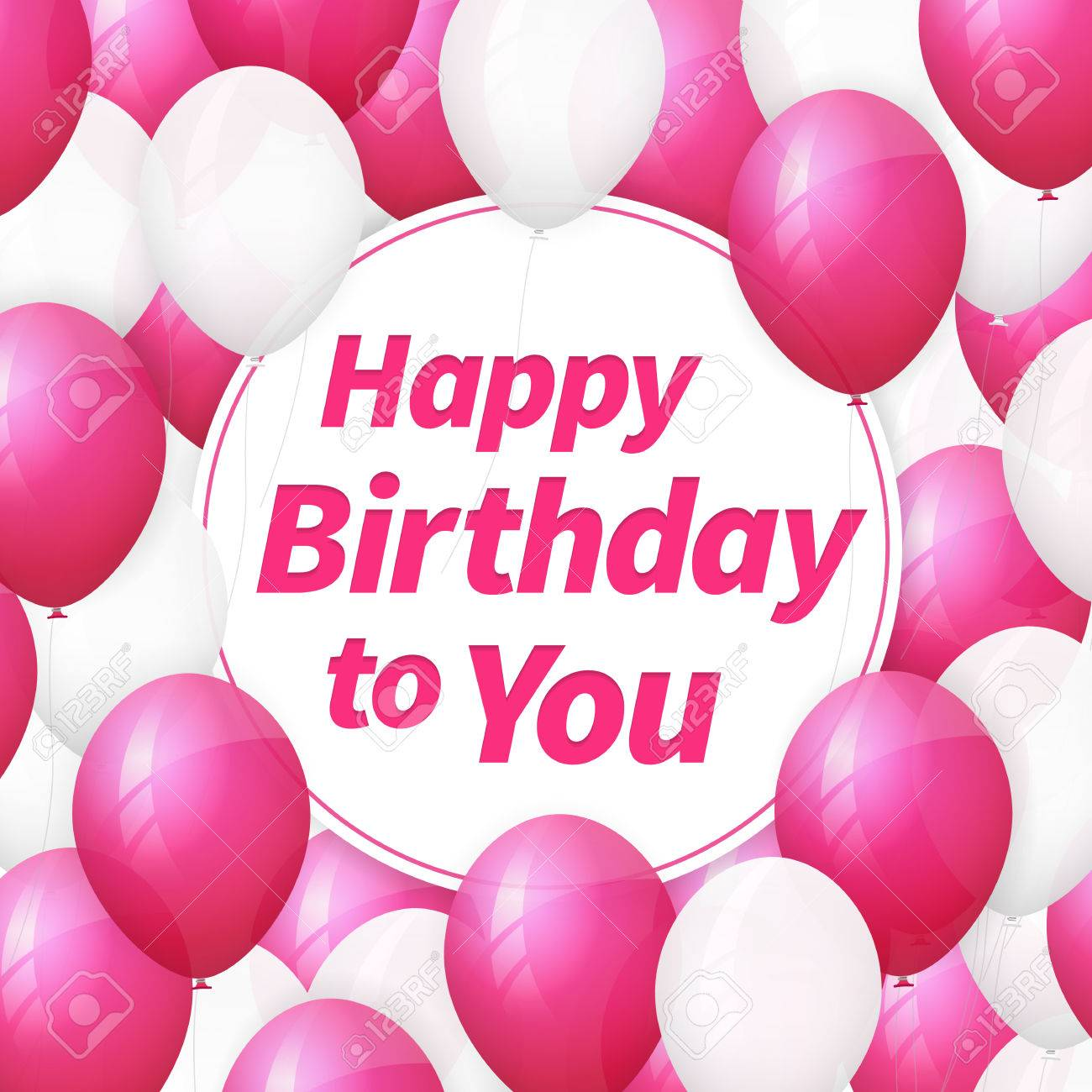 Happy Birthday Greeting Card Background With White And Pink Balloons Stock Vector