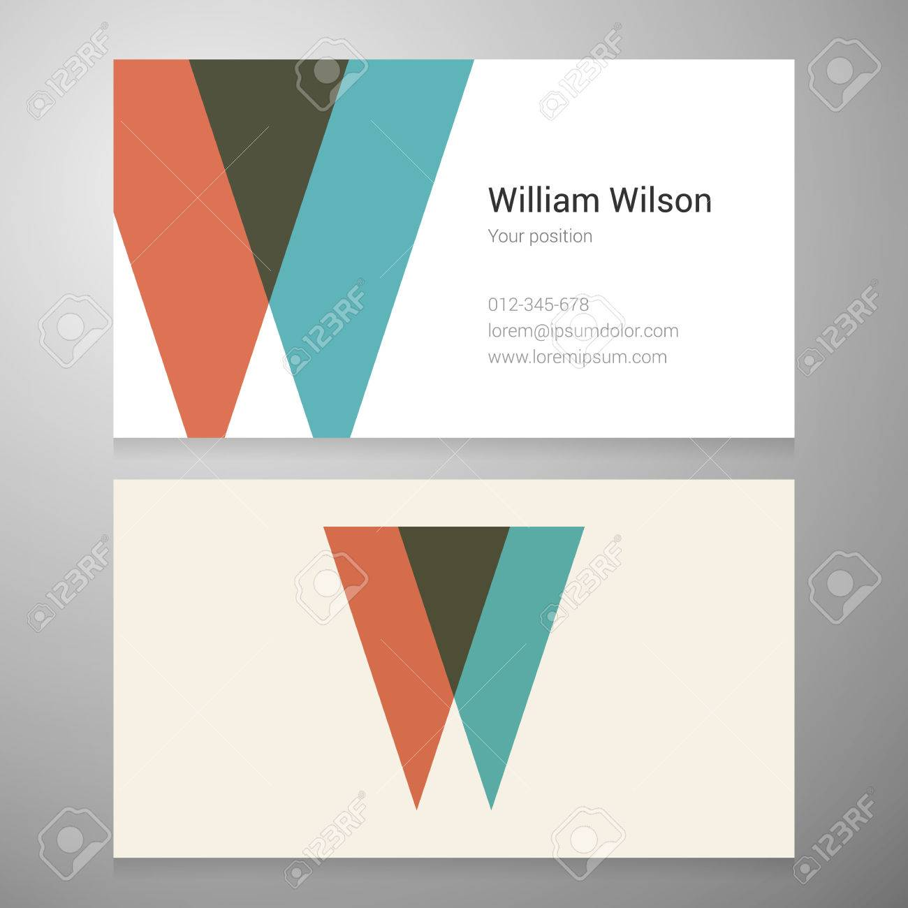 Modern Letter W Icon Business Card Template. Vector Design. Layered ...