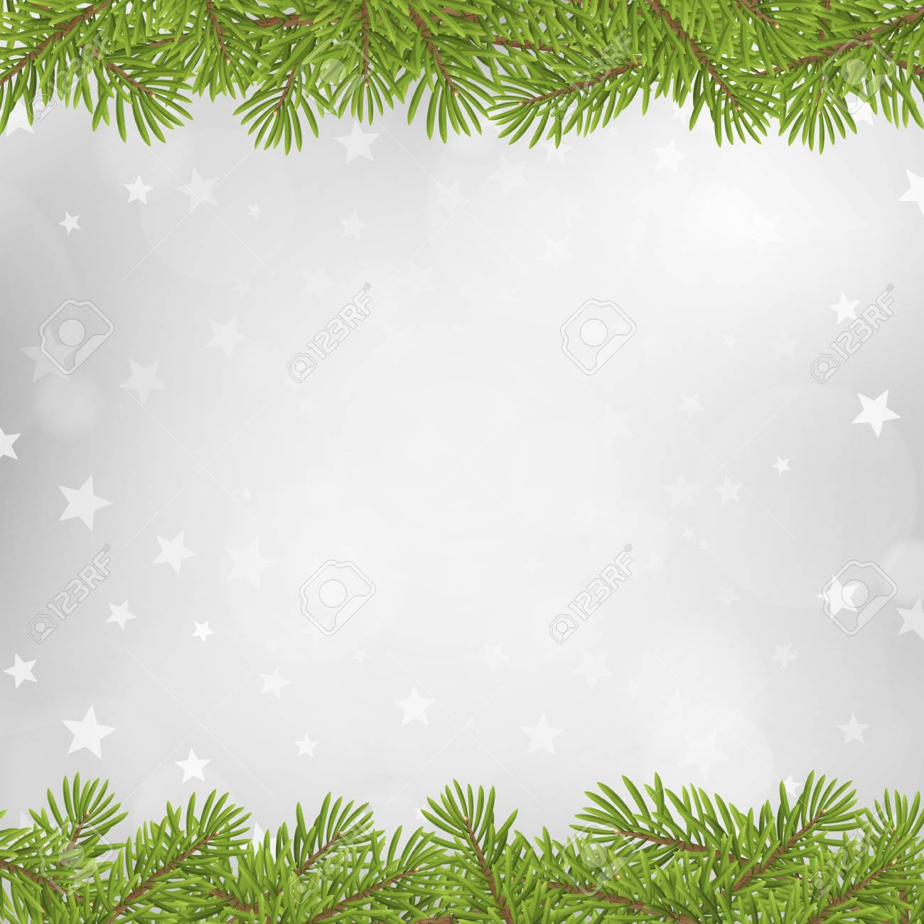 Christmas Tree Frame On Blurred Silver Star Background. Vector ...