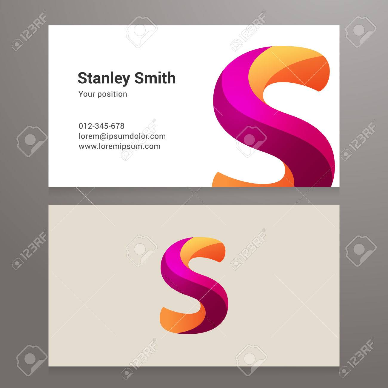 Modern letter s twisted colorful business card template royalty banco de imagens modern letter s twisted colorful business card template reheart Image collections