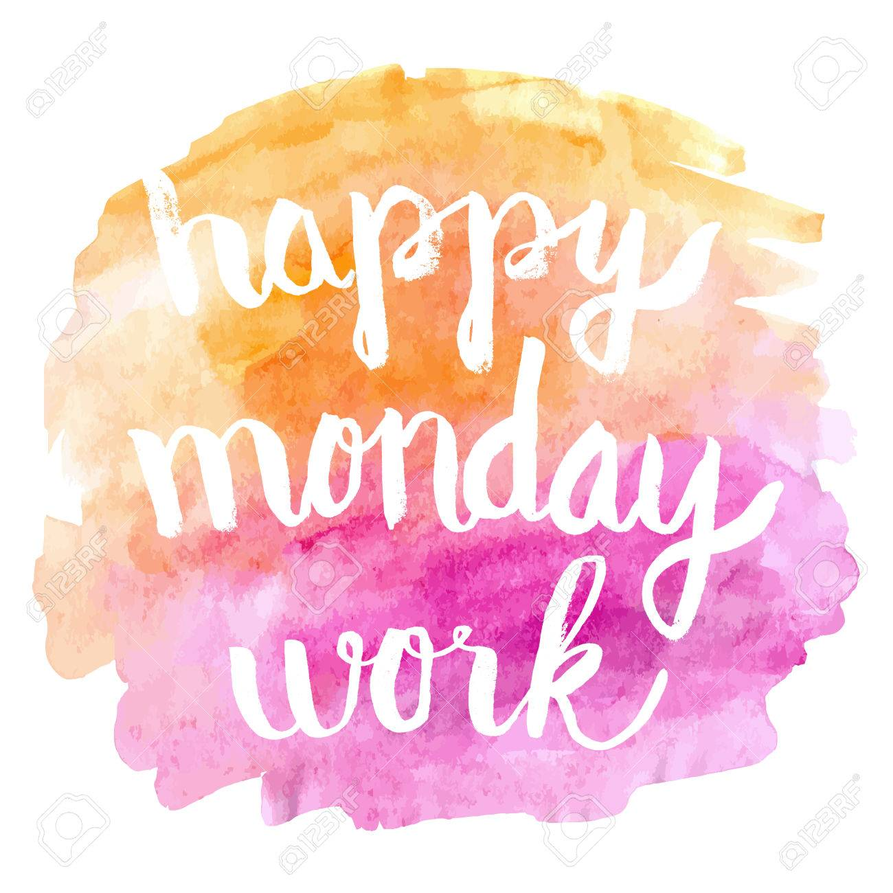 Happy Monday Work On Watercolor Background Greeting Card Royalty