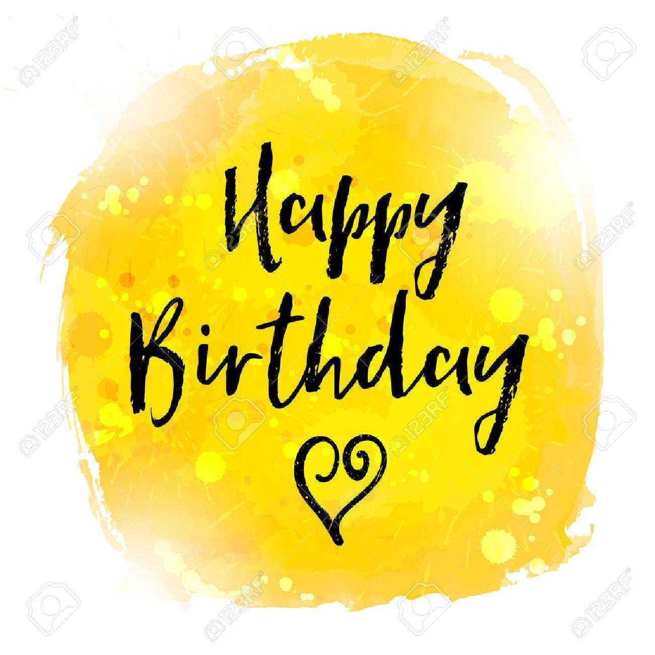 Happy Birthday hand paint watercolor brushed greeting card. Vector illustration. - 55086953