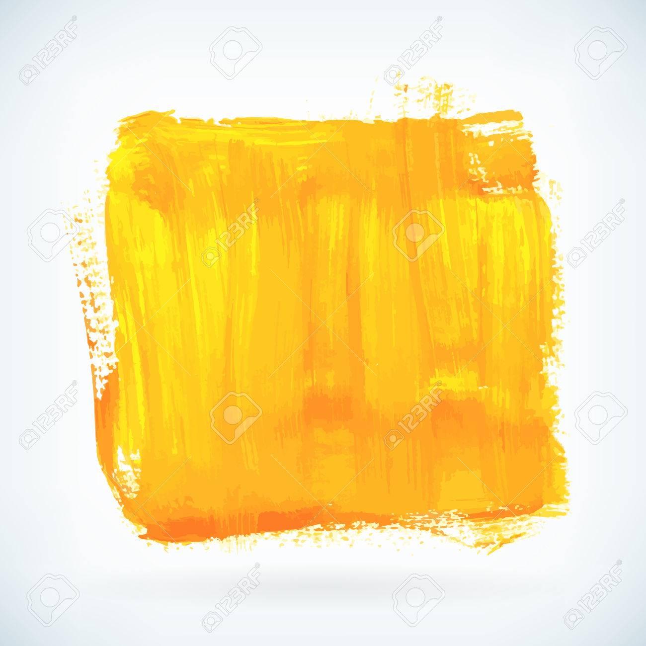 Peinture Jaune Artistique De Coup De Pinceau Sec Aquarelle Main