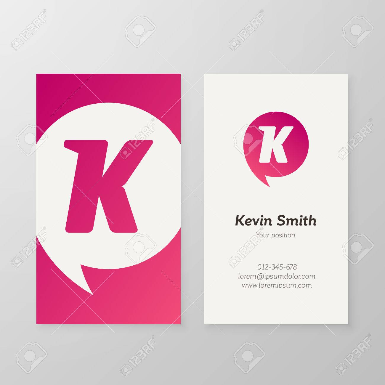 modern letter k in speech bubble business card template vector