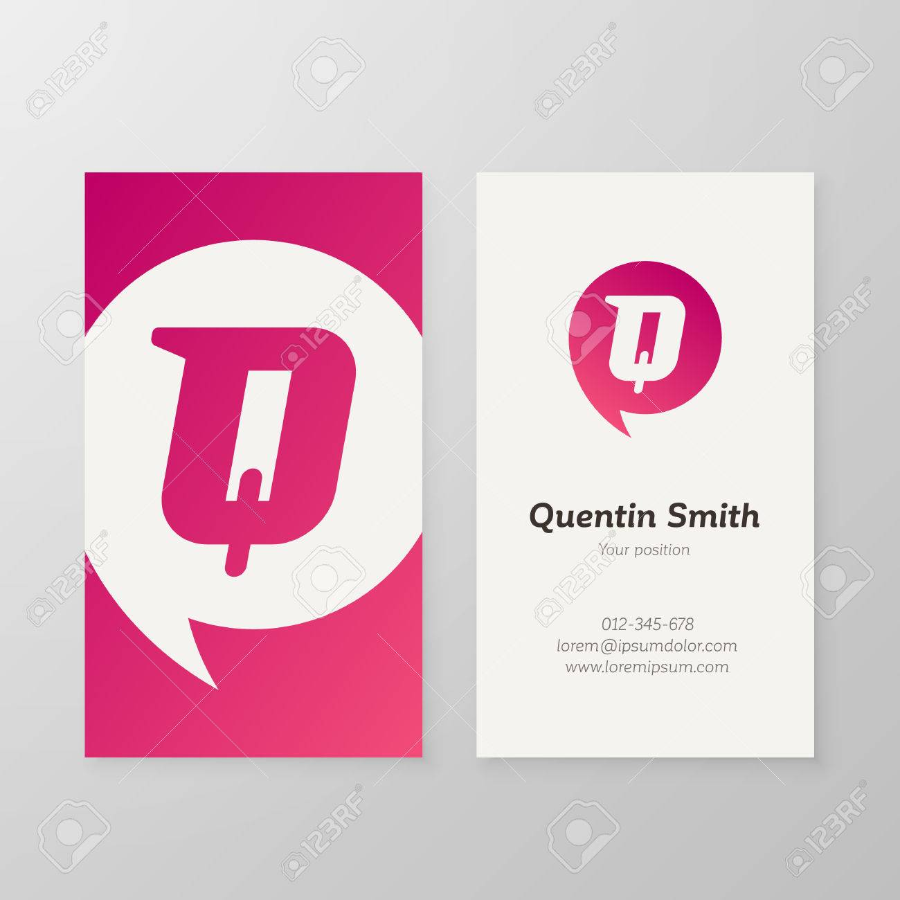 Modern letter q in speech bubble business card template vector modern letter q in speech bubble business card template vector business personal card design reheart Choice Image