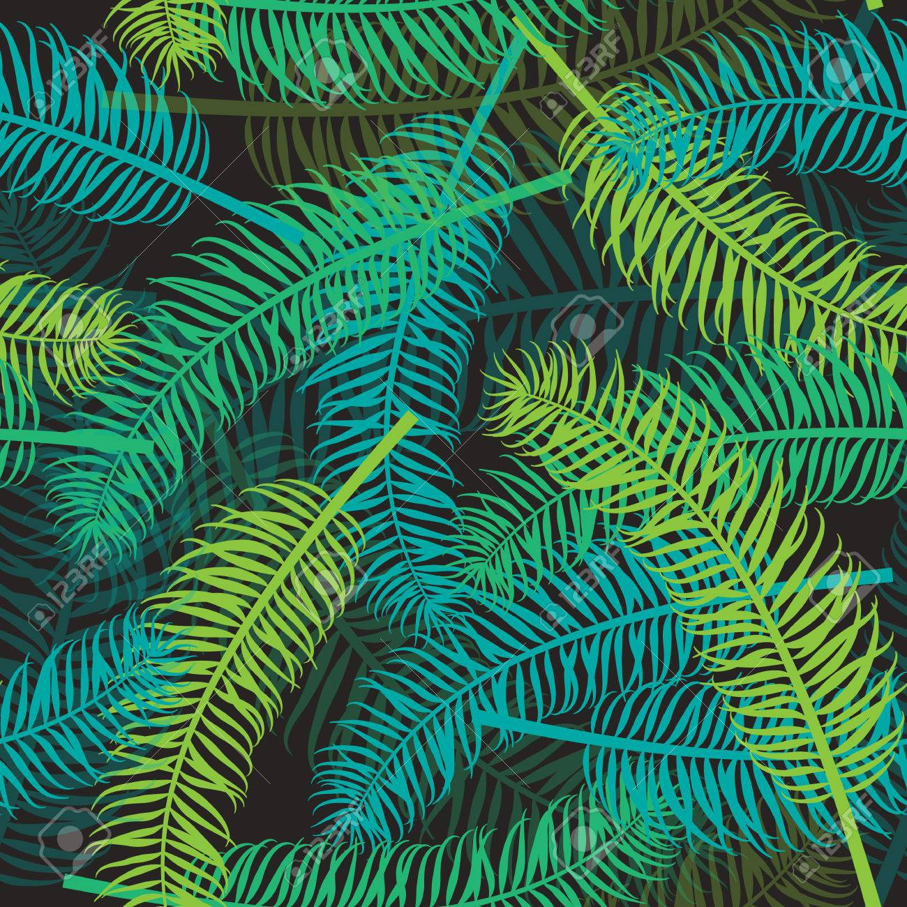 Seamless Palm Leaf Pattern On Dark Background Tropical Leaves Vector Backdrop For Print Or Website