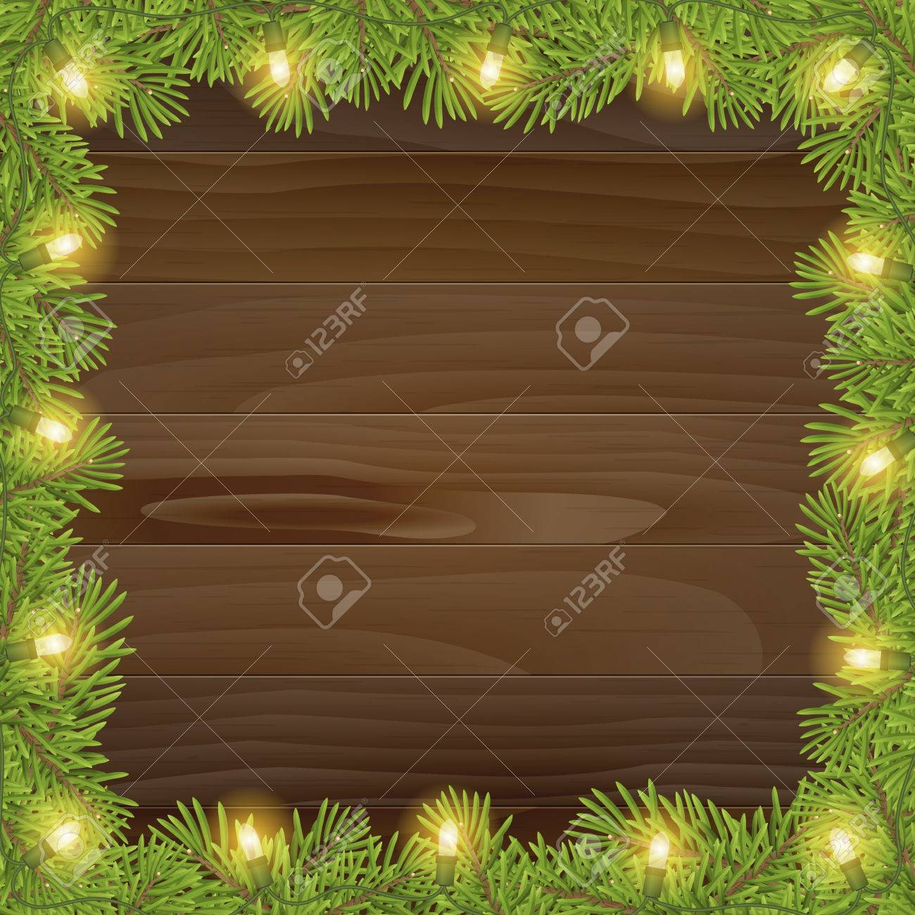 Christmas Tree Frame With Light Bulb Isolated On Wood Plank Background Vector Illustration For