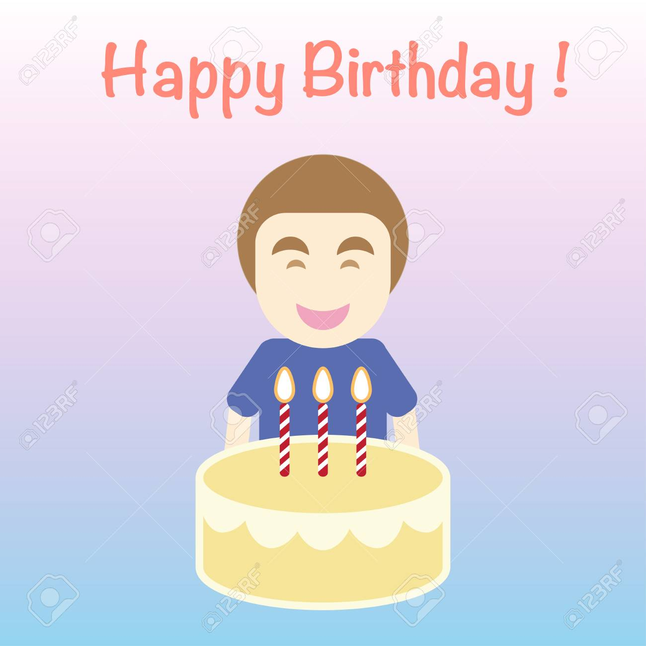 Happy Birthday Card Simple Flat Cartoon Vector The Man Carry Royalty Free Cliparts Vectors And Stock Illustration Image 92988944