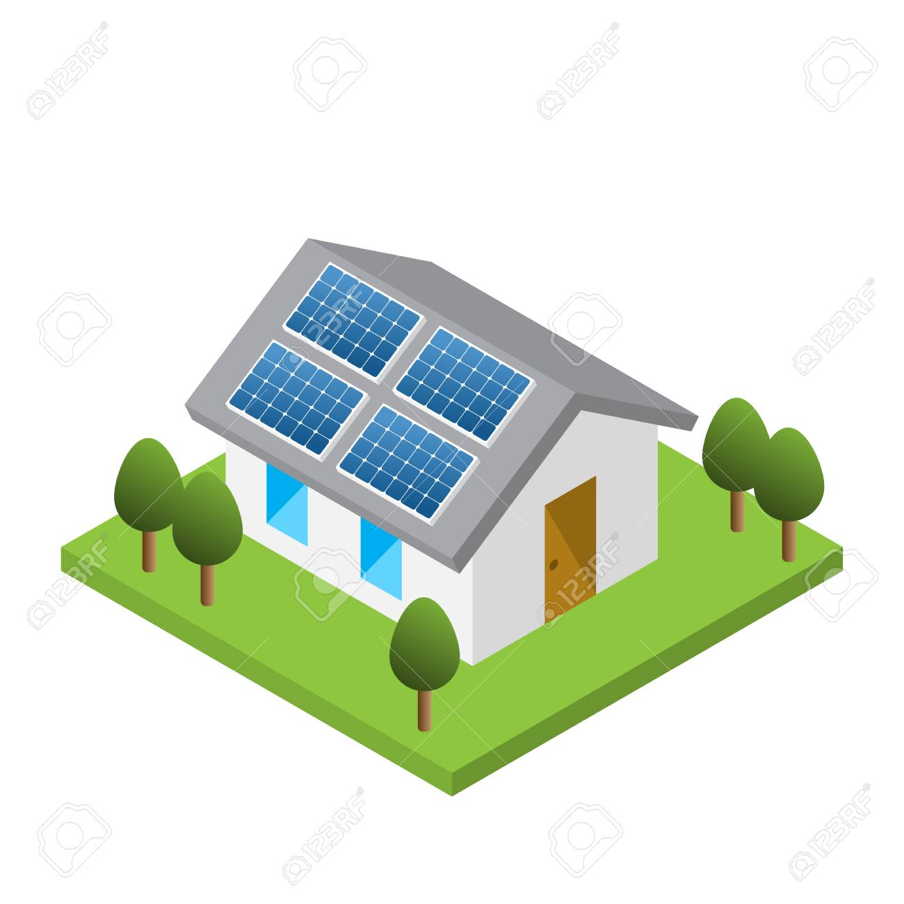Simple isometric house with solar roof panels, isolated white background - 97223543