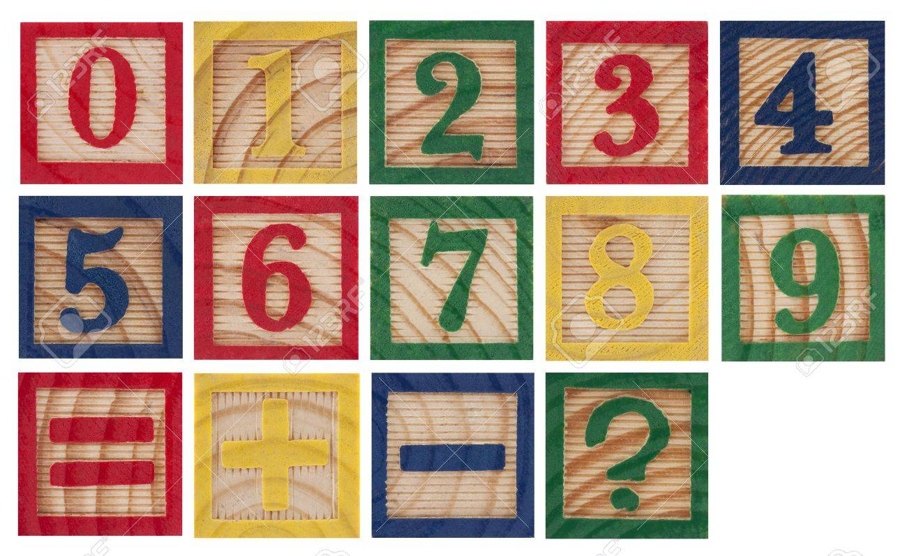 Wooden colorful numbers isolated on white Stock Photo - 9991344