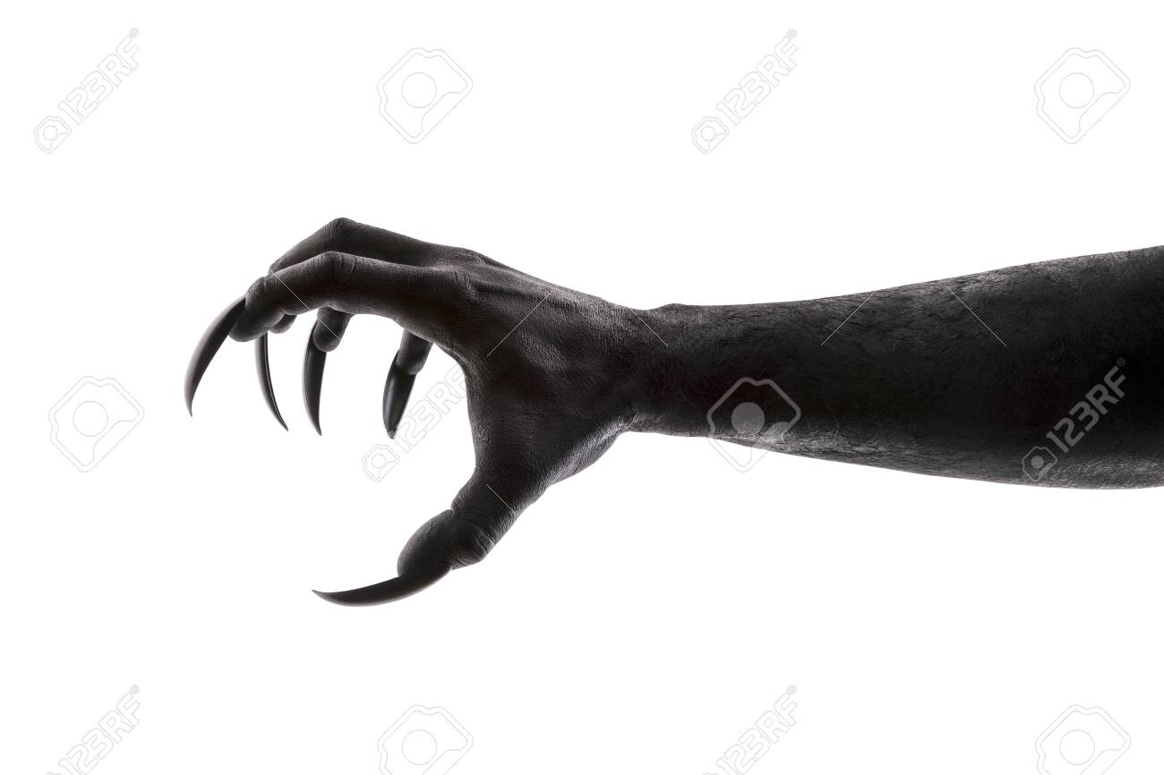 Creepy monster claw isolated on white background - 123622754