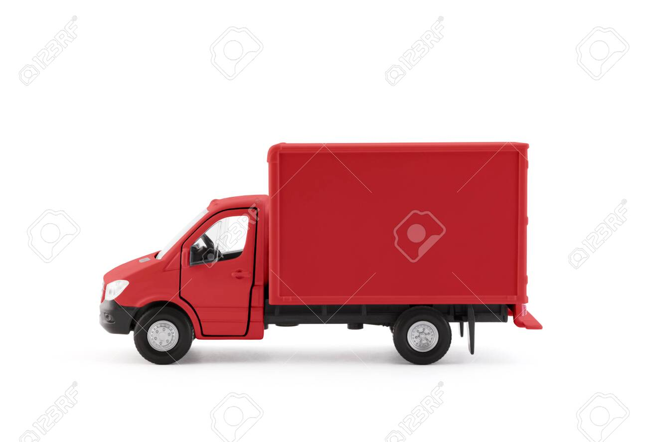 Red cargo delivery truck side view on white background - 144070098