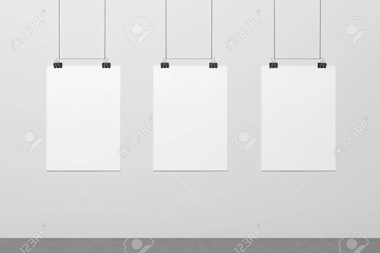 Blank posters hanging on the wire and binding clips Mock up Stock Photo -  64667921