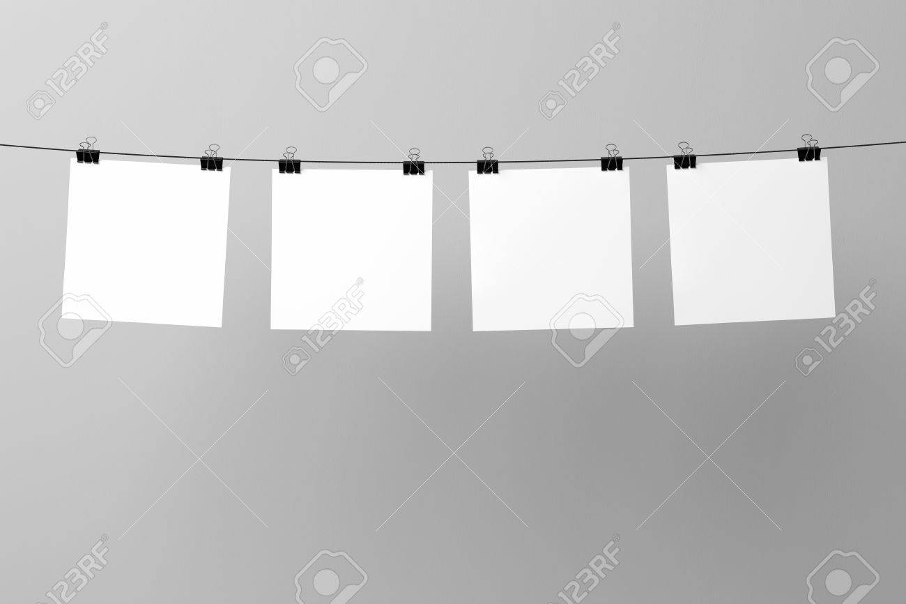 Blank posters hanging on the wire and binding clips Mock up Stock Photo -  64668073