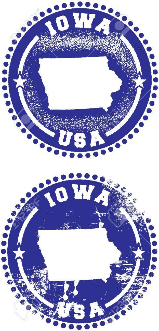 Iowa USA Stamp Design Stock Vector - 9912350