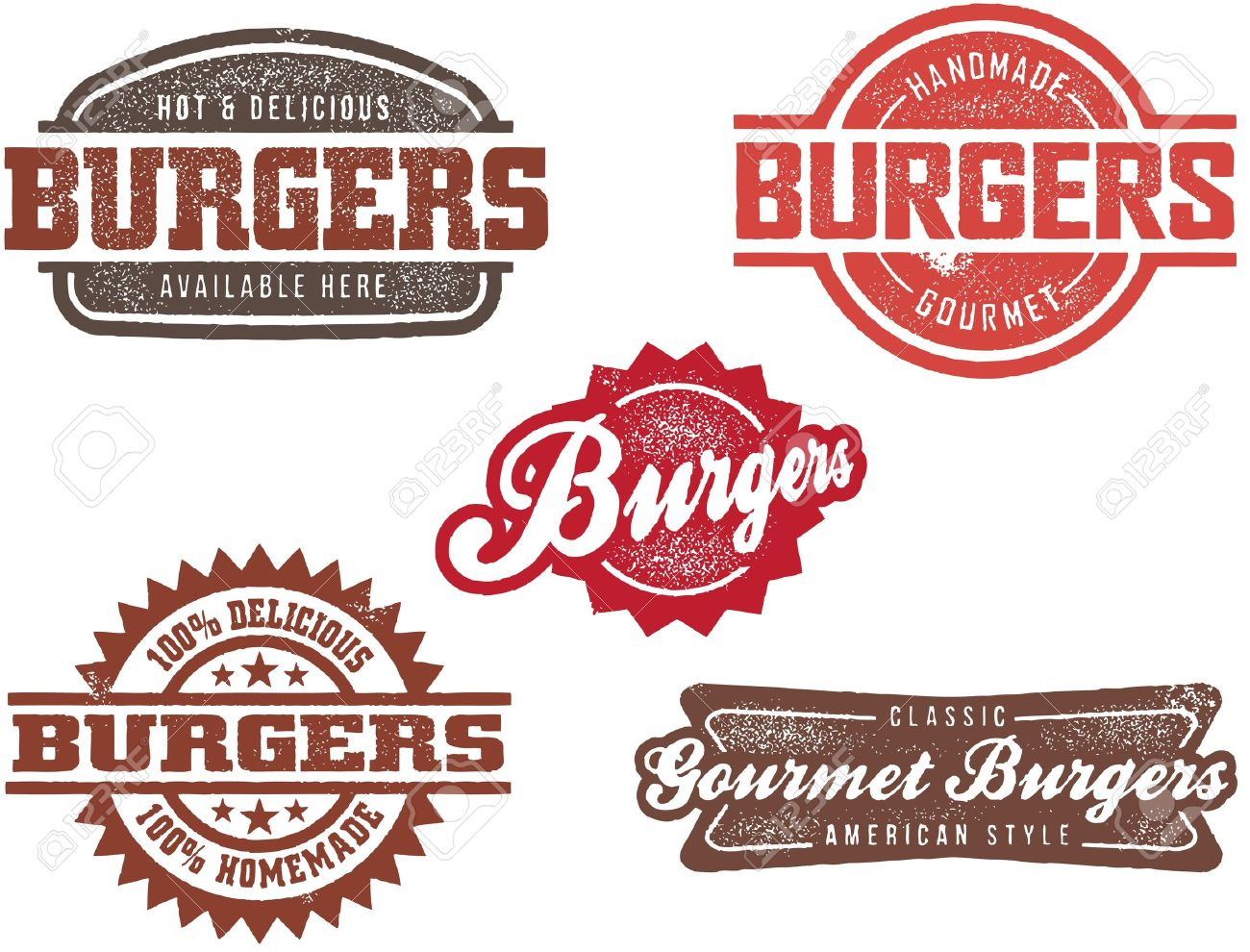Vintage Style Burger Stamps Stock Vector - 10191043