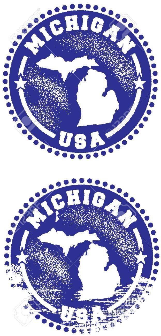 Michigan USA State Stamp Stock Vector - 10320673