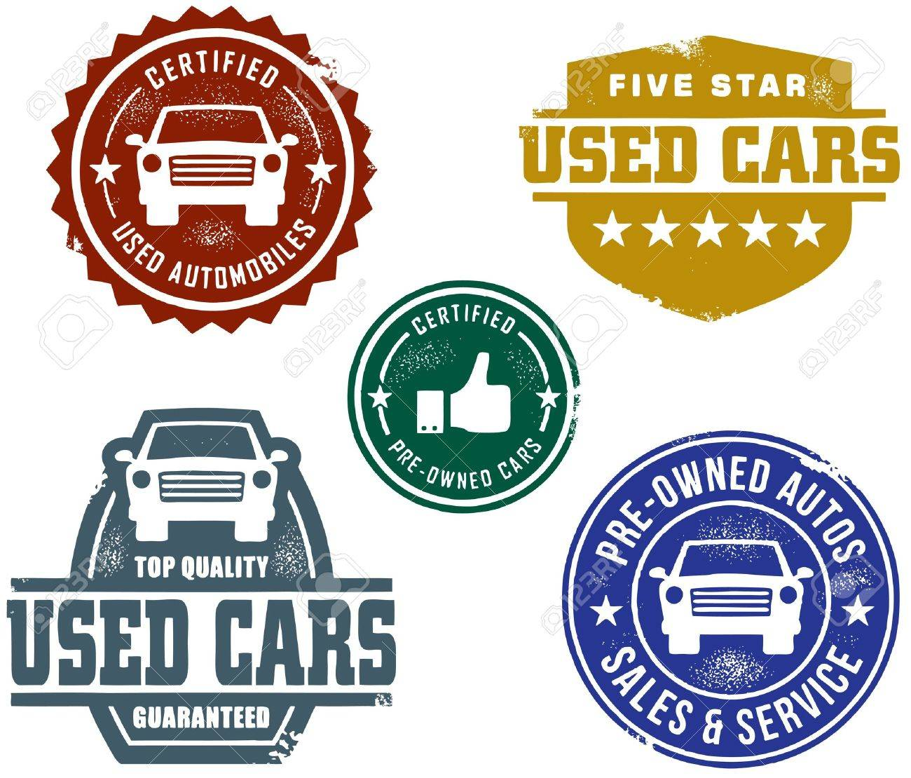 Vintage Used Car Sales Stamps Royalty Free Cliparts, Vectors, And ...