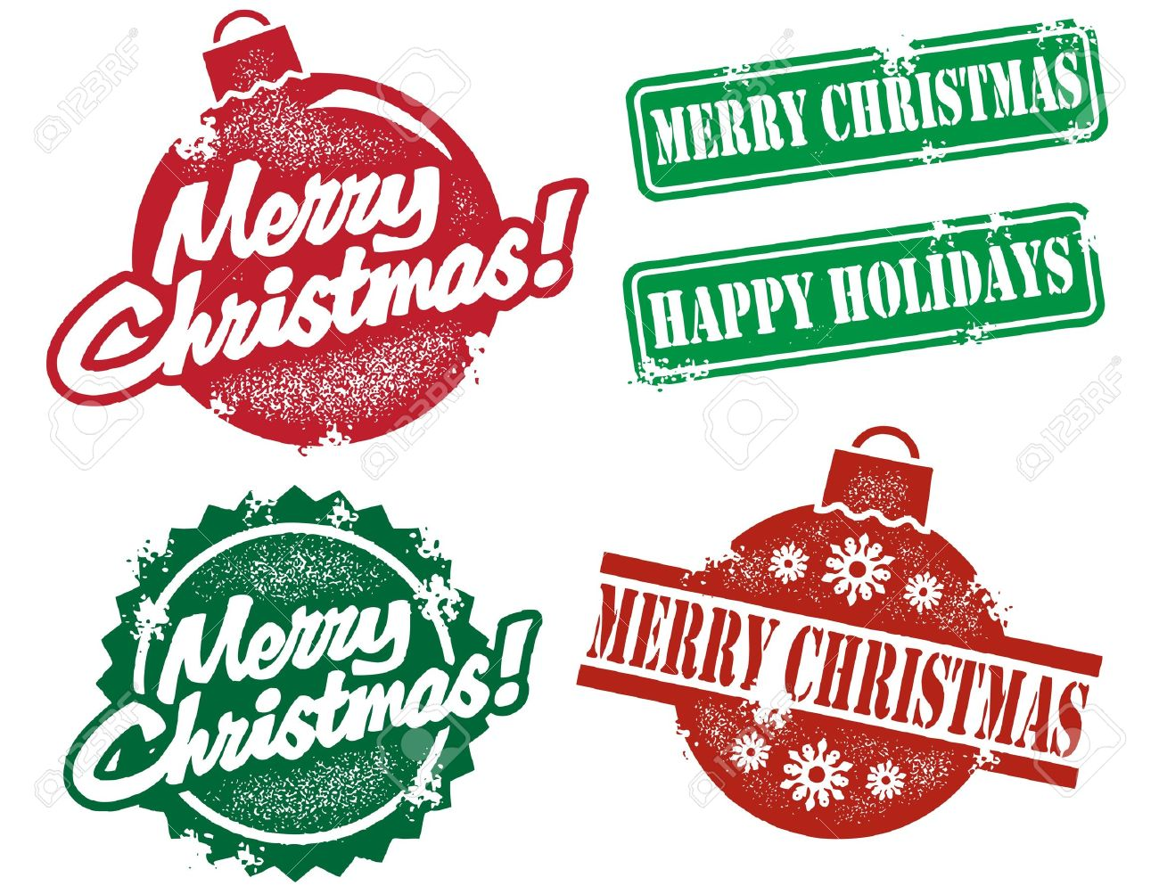 Vintage Style Christmas Stamps Stock Vector - 10932627