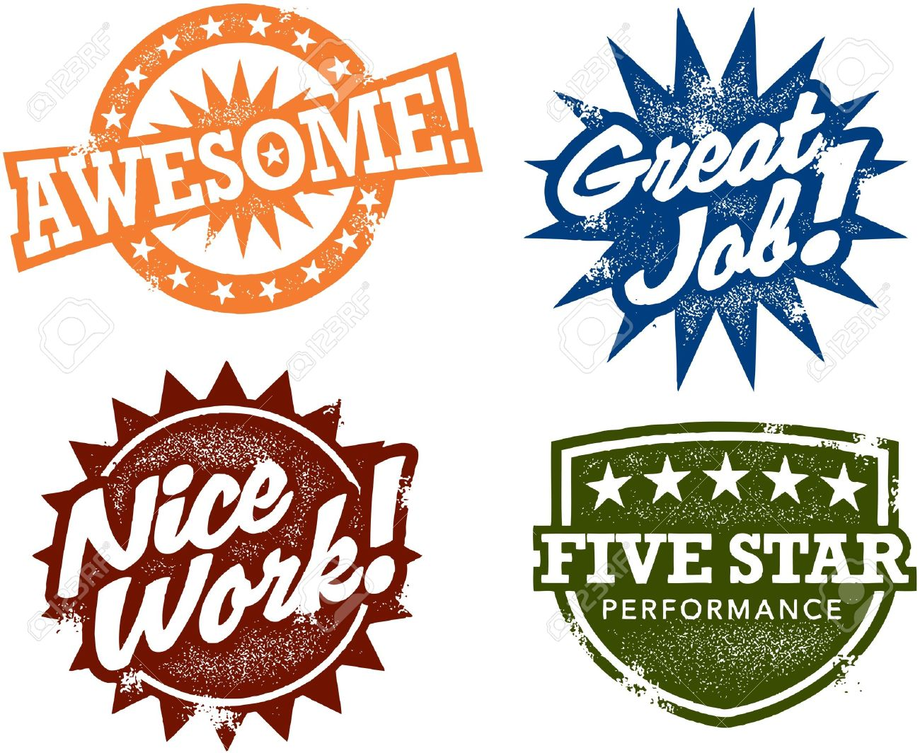 Awesome Work Stamps Stock Vector - 11602903