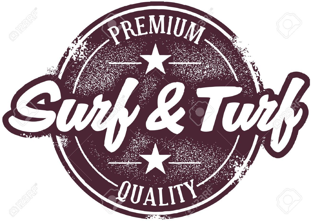 Vintage Surf and Turf Menu Stamp Stock Vector - 14651205
