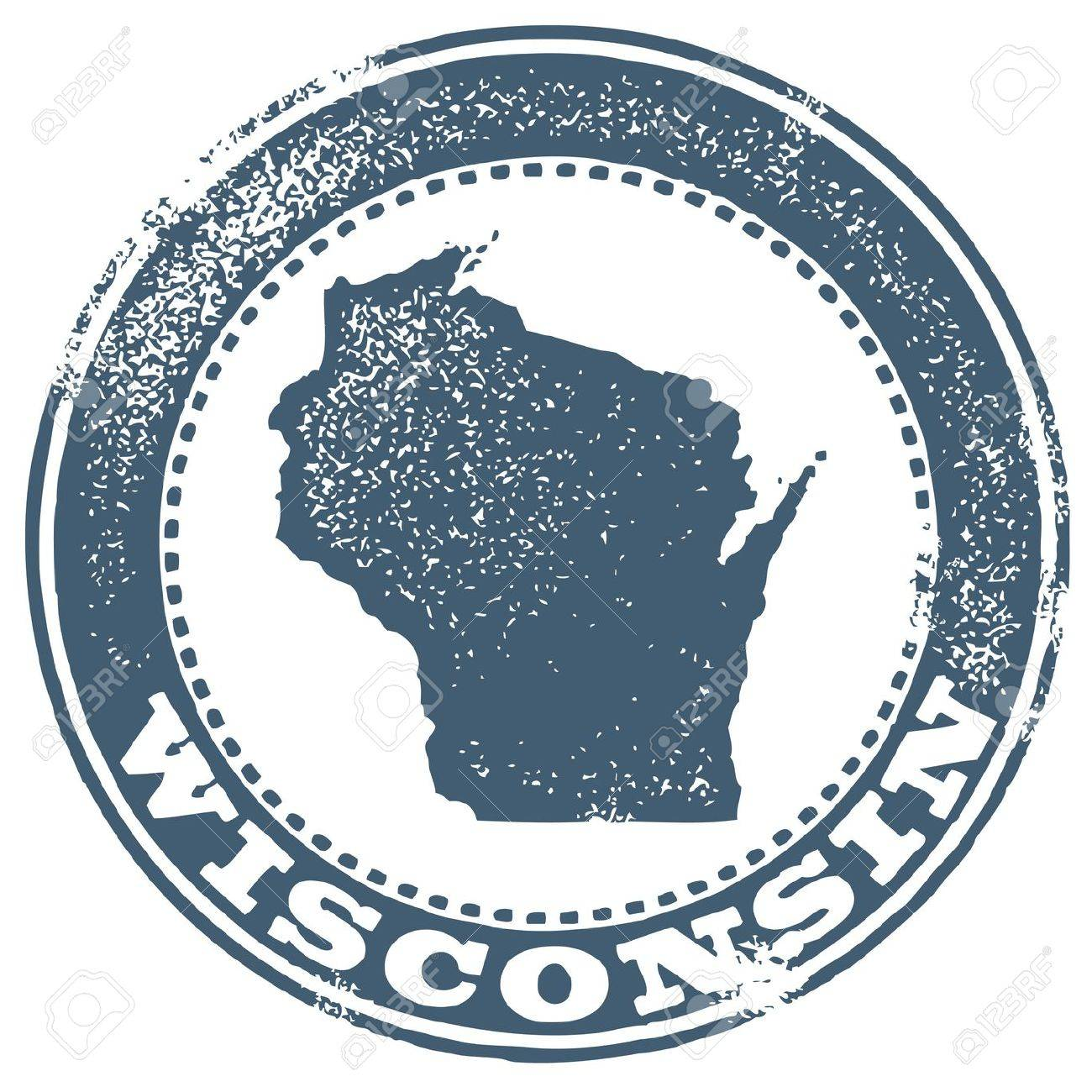 Vintage Wisconsin State StampSeal Royalty Free Cliparts Vectors - Map of america wisconsin