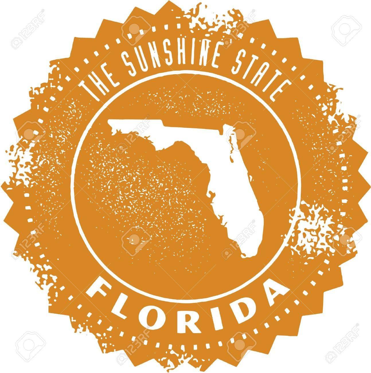 Vintage Florida USA State Stamp Royalty Free Cliparts Vectors - Orlando florida on us map