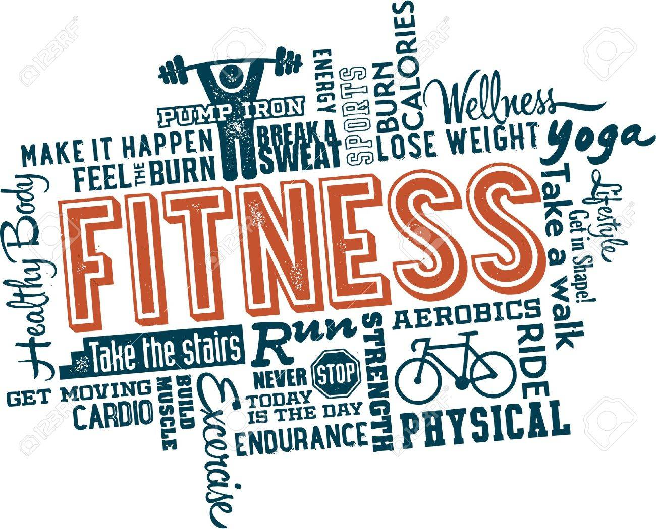 Fitness And Health Word And Icon Cloud Royalty Free Cliparts ...