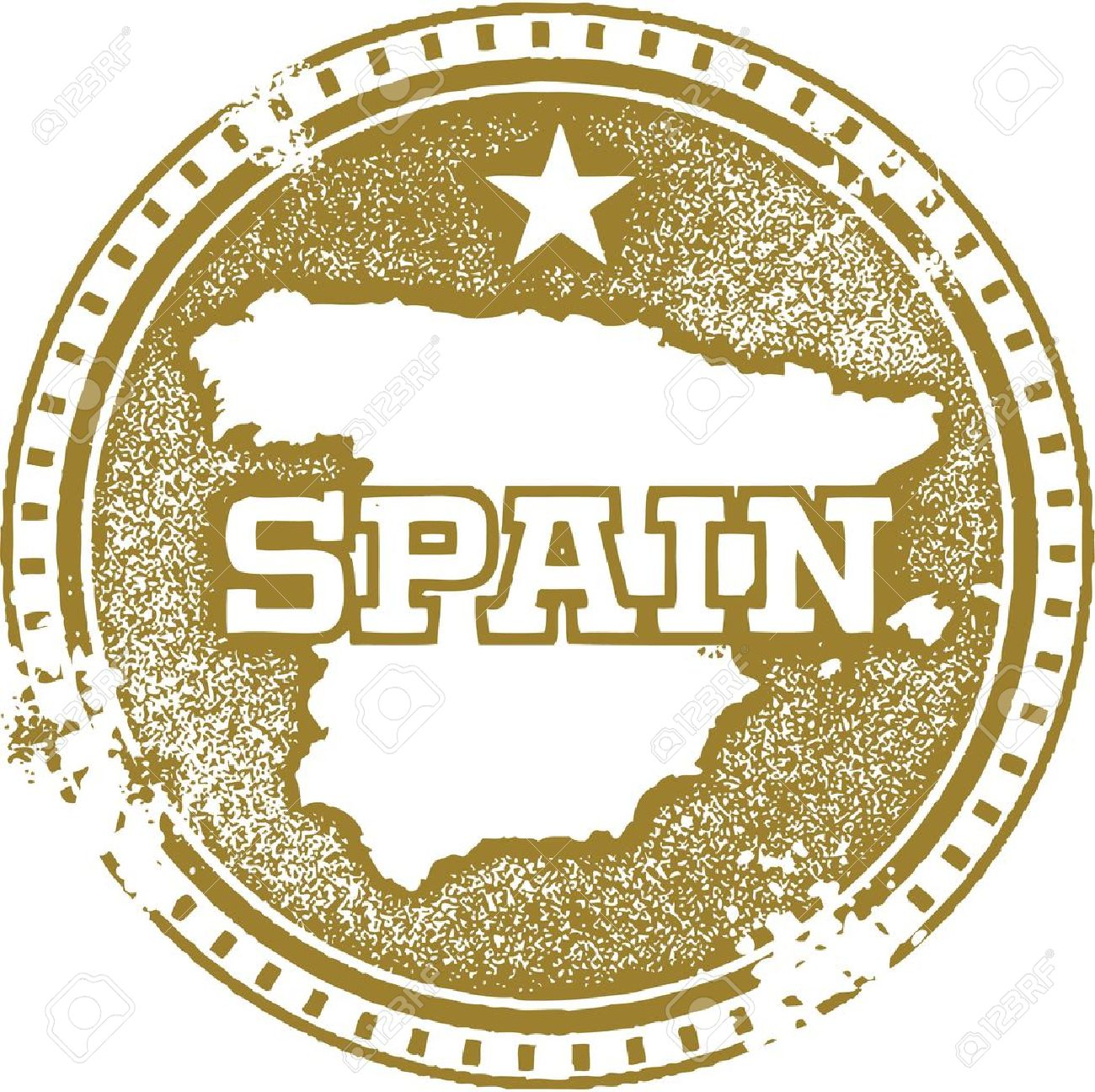 Vintage Spain Country Stamp Royalty Free Cliparts Vectors And