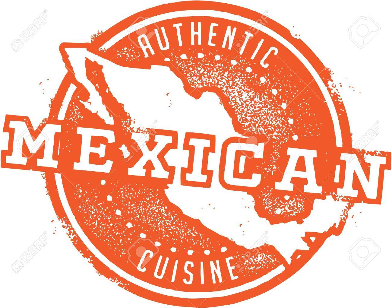 Authentic Mexican Restaurant Stamp Stock Vector - 21386242