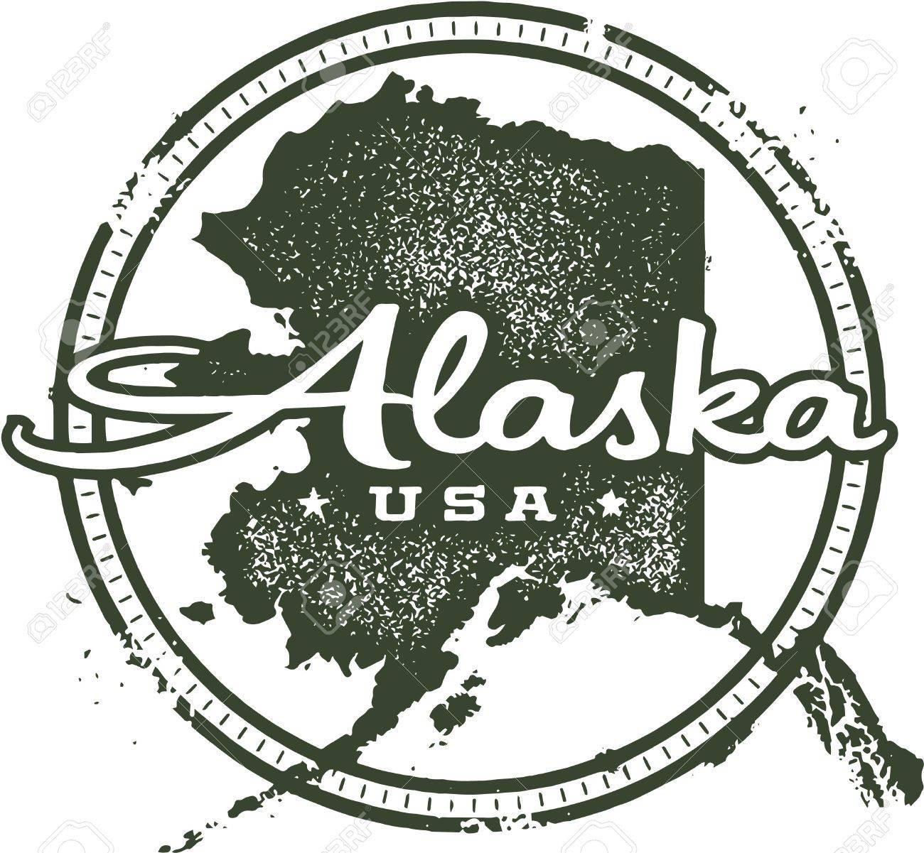 Vintage Alaska USA State Stamp Stock Vector - 21926131