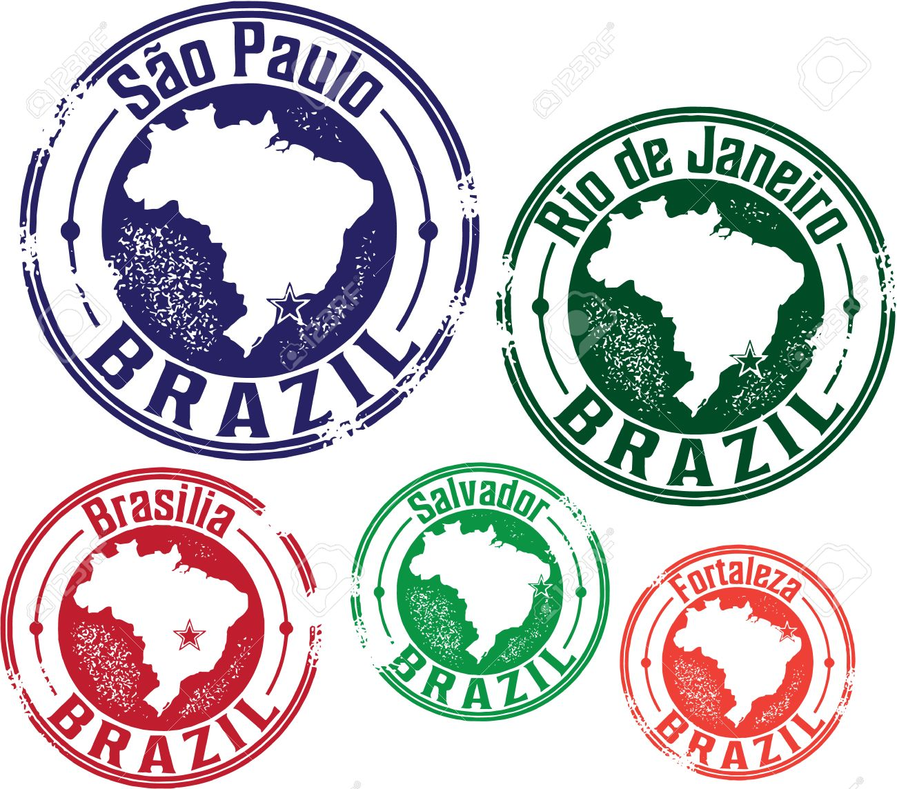 Brazil South American Travel Stamps Stock Vector