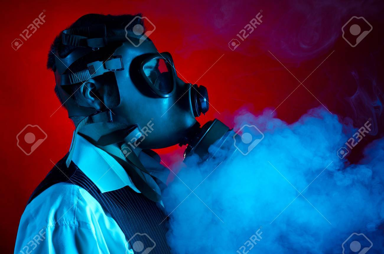 Man wearing a gas mask for protection against pollution Stock Photo - 11536841