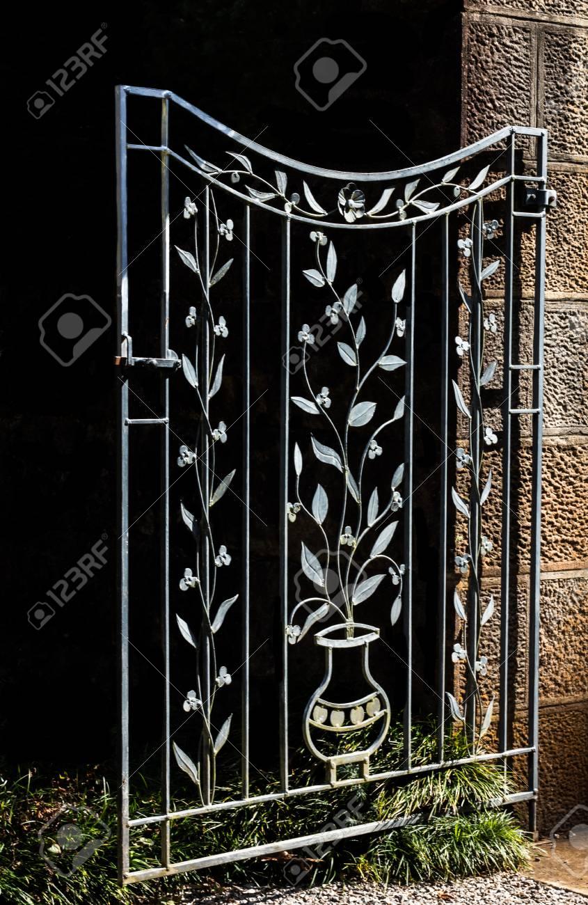 Decorative Metal Garden Gate Stock Photo   75136774