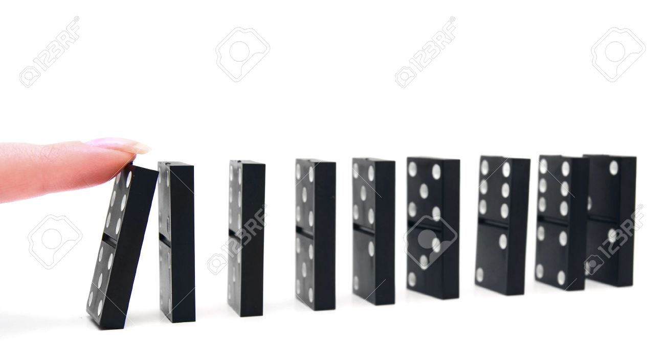 domino effect on a white background stock photo picture and domino effect on a white background stock photo 13806276