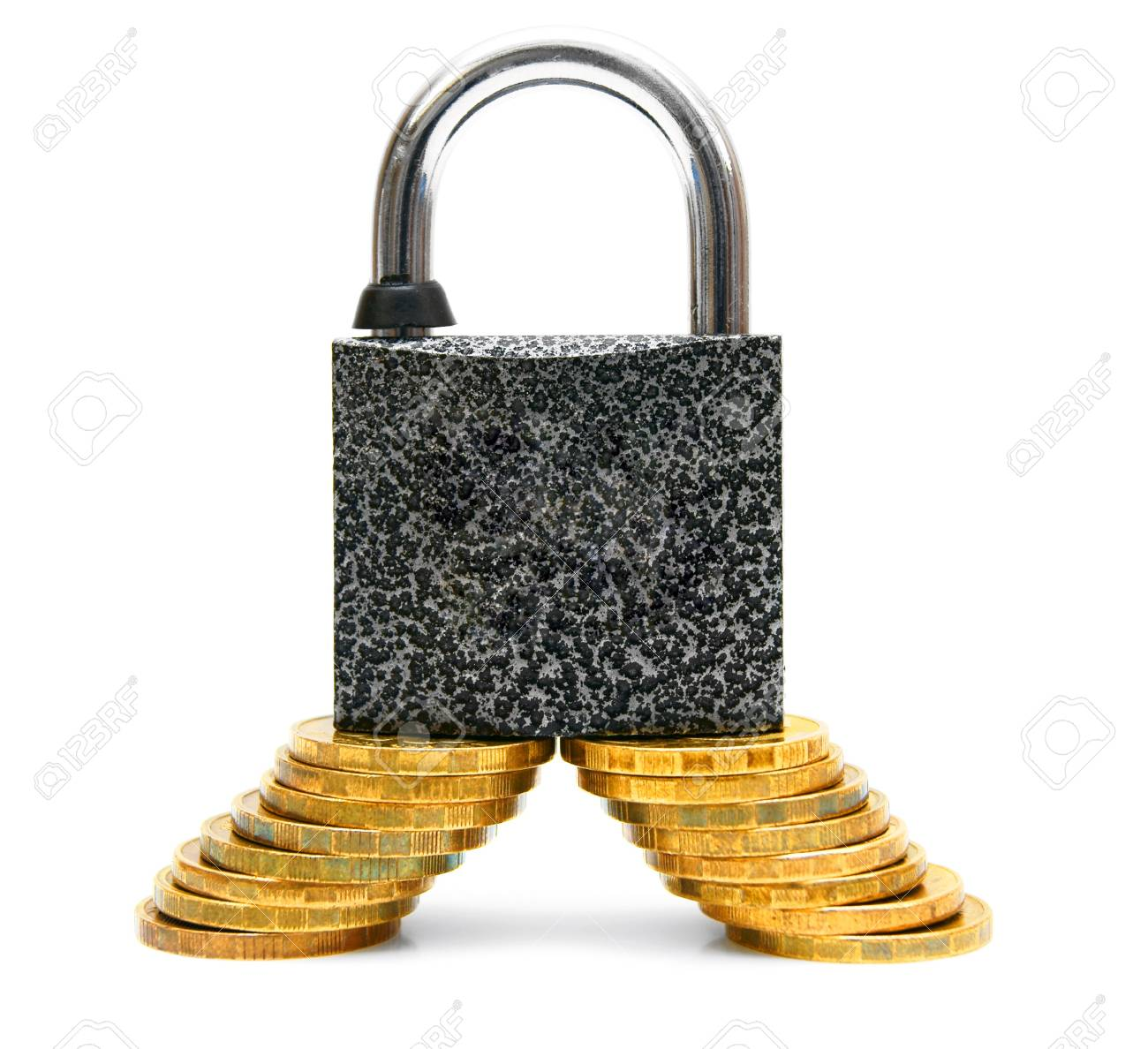 The lock and gold coins  On a white background Stock Photo - 13808161